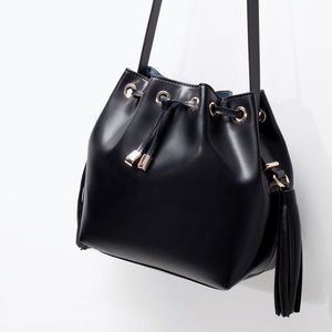 Zara Black Tassel Bucket Bag!